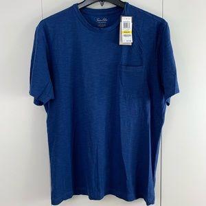 Tasso Elba Island M 100% Cotton pocket Tee blue